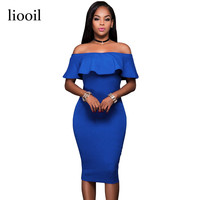 Liooil 2017 Summer Royal Blue Off The Shoulder Midi Bodycon Dress Sexy Ruffles Strapless African Women Celebrity Party Dresses