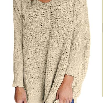 Khaki V-Neck Sweater Knit Shirt