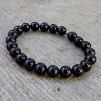 Patience and Soothing, Genuine Onyx Gemstone Mala Bracelet