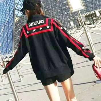 CREYV9O Givenchy Fashion Casual Star  Print Side Stripe Long Sleeve Zipper Sweater G-AGG-CZDL