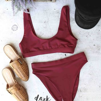 kylie sporty swim top + banded high waist high cut cheeky bottom - separates - dark burgundy