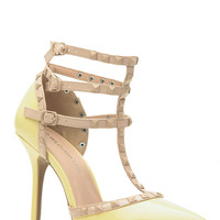 Light Yellow Faux Patent Leather Studded Pointed Toe Single Sole Heels