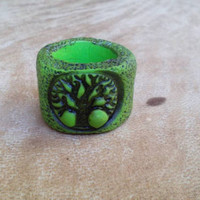 Big hole green tree of life dreadlock bead. Rasta bead. Dread bead.