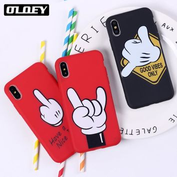 OLOEY Mickey Mouse Hand Gesture Pattern Soft Silicone Phone Case Coque Fundas For iPhone5 6 7 7Plus 8 8Plus X XS Max