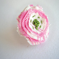 Pink and green fabric flower ring - adjustable romantic eco friendly jewelry