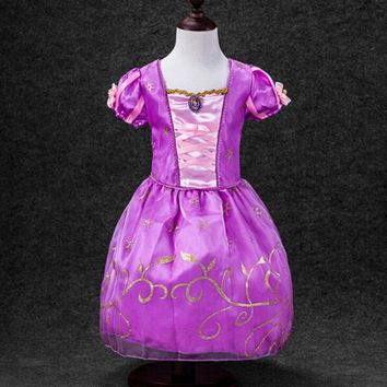 Boutique Kids Clothing 2017 Summer Costumes Girls Cosplay Party Dresses Princess Frozen Anna Dress for Children Ball Gown