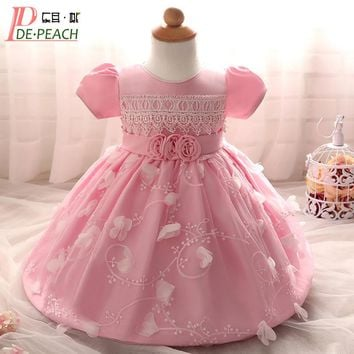 Newborn Baby Full Moon Dresses Petal Flowers Lace Princess Party Dresses Toddler Girl Christening Gown Clothing Infants Vestidos