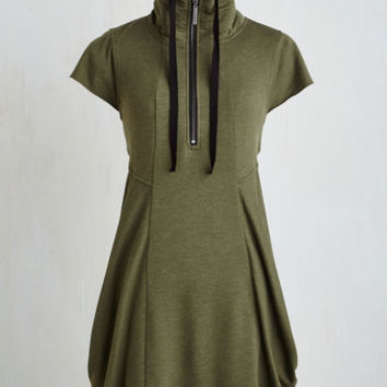Short Length Short Sleeves Shift Fresh Flow Dress in Olive