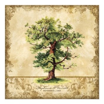 Vintage Oak Tree of Life Swirl Etchings Parchment