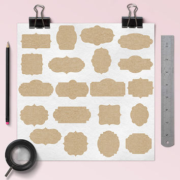 "Kraft paper frames clipart: ""KRAFT FRAMES"", digital clip art pack with kraft borders, digital tags, printable labels for scrapbooking"