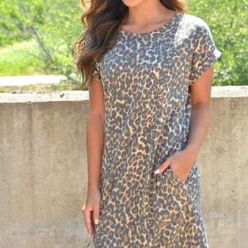 Midnight Breeze Dress - Leopard