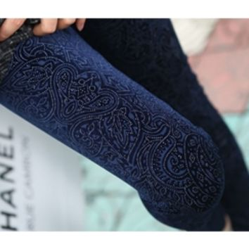 Navy Blue Velvet Floral Paisley Pattern Leggings