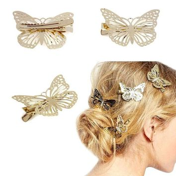 2015 Amaing Coming Golden Butterfly Hair Accessories Hair Clip Headpiece Hair Head Side Decor Wedding Jewelry Free Shipping