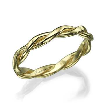 Braided Wedding Ring 14k Yellow Gold, Wedding Band, Unisex ring, Woman Ring, Thin Ring, braided band, knot ring, Band ring, twisted ring