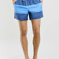 Blue Acid Wash Stripe Shorts - Topman