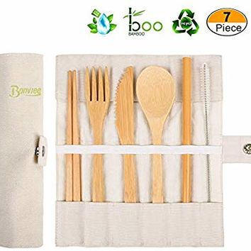 Bamboo Cutlery Set | Travel Utensil Set | Portable Flatware Set | Reusable Cutlery Set | Camping Utensils Set