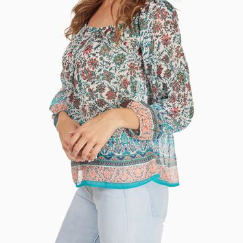 Mint Green Paisley Printed Flowy Blouse