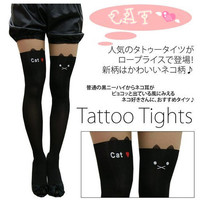 Japanese Kawaii Cat Face with Ears Black and Nude Tattoo Tights Stockings
