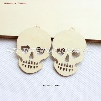 """(60pcs/lot) 70MM Unfinished Blank Wood Skull Pendents Halloween Necklace Tags With Strings 2.8""""-CT1267"""