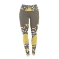 "Very Sarie ""Hope for the Flowers II"" Yellow Brown Yoga Leggings"