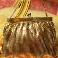 Vintage Whiting and Davis Goldtone Mesh Evening Bag