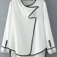 White Long Sleeves Blouse with Color Black Details