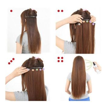 45cm Long extra Thickness Hair Extension Long Curled wave bundle 5 Cards clips