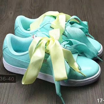 Puma Suede Heart Satin Bow Slide Sandals Shoes sneakers Green B-DXTY-XZ