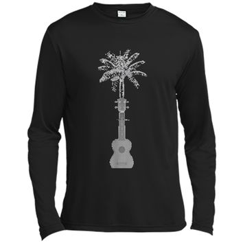 Funny Palm Tree Ukulele Shirt Beach Music Lover Cool T-shirt Long Sleeve Moisture Absorbing Shirt
