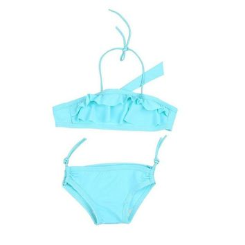 Two-Pieces Swimwear Bathing Suit 2018 New Summer swimwear Set Adjustable 2-7Y Children Girls Bathing Suit Bow-knot Solid Color