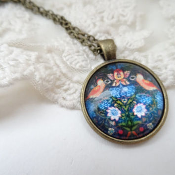 1- Strawberry Thief Necklace Bronze William Morris and Co Textile Design Pendant Finished Jewelry Gifts for Her Gifts Under 20 Dollars
