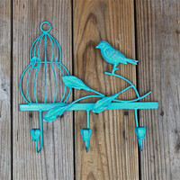 Wall Hook /Turquoise /Shabby Chic Decor /Metal /Ornate Hanger /Key Holder /Bathroom Fixture /Bedroom /Mud Room Rack /Laundry /Nursery