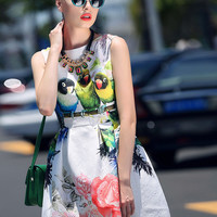White Jacquard Floral And Parrot Print Sleeveless Mini Skater Dress