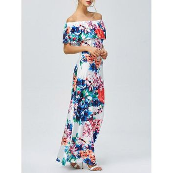 Off-The-Shoulder Floral Hawaiian Print Maxi Dress - Floral