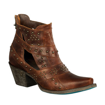 Lane Boots - Studs & Straps Distressed Brown - LB0289A