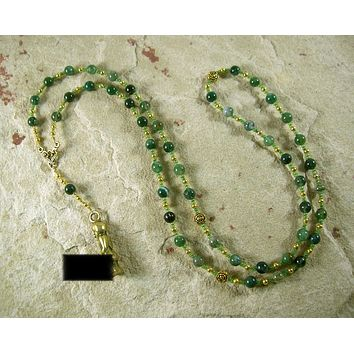 Priapus Prayer Bead Necklace in Moss Agate: Greek God of Fertility and Gardens