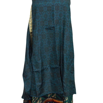 Women's Vintage Silk Wraps Blue & Silver Skirt Two Layer Reversible Sari Long Skirts