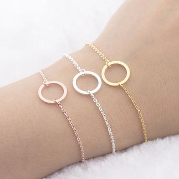 Eternity Friendship Bracelets Men Women Geometry Karma Round Circle Jewelry Best Friend Gifts Rose Gold Bracelet Homme Bijoux