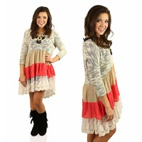 Third In Line Lace Dress in Black & Coral