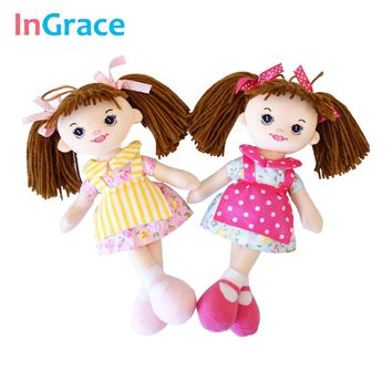 InGrace baby girls first doll soft cloth apron dolls with flower dress pink kawaii brown hair girls birthday mini toys 6 colors