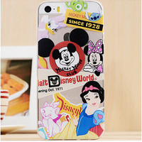 Cute Disney Collage Cartoon TPU Transparent Soft Phone Back Case Shell Cover for iPhone 5 5S SE