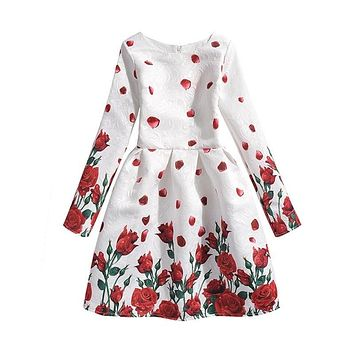 Girl Rose Flower Long Sleeve Dresses 133