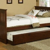 Dark finish wood day bed with slide out trundle made with solid wood and veneers