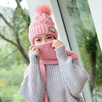 2017 autumn winter plus cashmere thickening knitted hat  collar female hair ball knitting sets of hoods  cap scarves warm sets