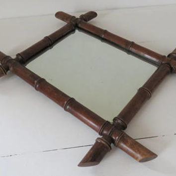 Antique French, Faux Bamboo Mirror, Home Decor