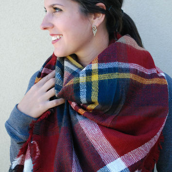 Plaid Blanket Scarf - Cabernet