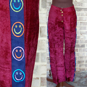 Crushed velvet pants, smiley face pants, 1960s 1970s pants, hippie pants, hip huggers, burgundy velvet, Size M