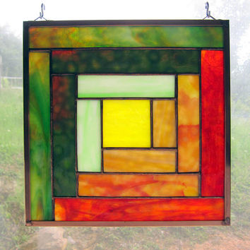"Stained Glass Quilt Square 9.5"" Log Cabin Appalachian Traditional Quilt Pattern in Orange Yellow and Green"
