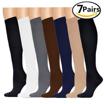 Compression Socks,(7pair) Compression Sock for Women & Men - Best For Running, Athletic Sports, Crossfit, Flight Travel - Maternity Pregnancy, Shin Splints - Below Knee High