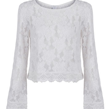 White Flare Sleeve Cropped Lace Blouse